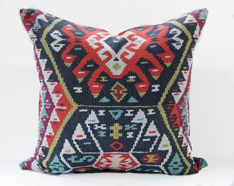 Kilim pillow cover - Gray and Red Pillow - Charcoal pillow - Red kilim pillow - Tribal pillow - Kilim print pillow - Boho Pillow -