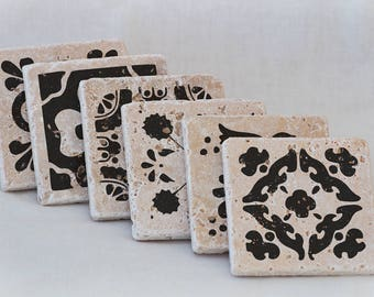 Set of 6 Natural Stone Coasters with Spanish Tile Designs on Travertine Tiles for Wedding Gift, Favor, Bridal Favor, Present, Home Decor