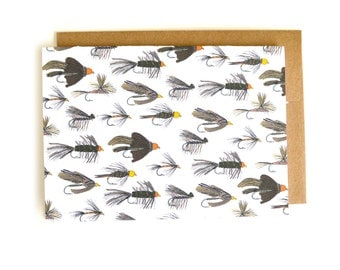 Fly Tying Stationery Set | Card for Him | Fly Tying | Fly Fishing Card | Dry Fly | Wet Fly | Adams Fly | Caddis | Wooly Bugger | Fishing