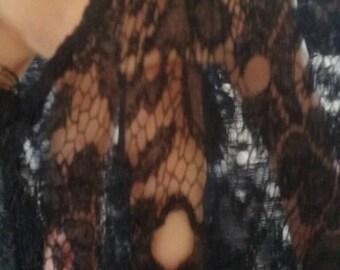Sale*Black lace 1920s sheer slip dress, flapper dress