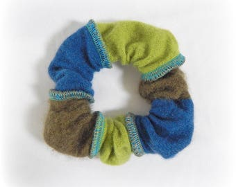 Green Scrunchie, Soft Scrunchy, Striped Hairband, Cashmere Hair Band, Ponytail Holder, Hair Elastic, Upcycled, Recycled, Eco Accessories