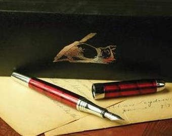 Crimson Red Calligraphy Fountain Pen in Gift Box