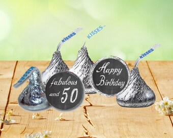 50th Birthday Hershey Kiss Stickers, Hershey Kiss Birthday Labels, 50th Birthday Stickers, 50 Years Old Birthday Stickers
