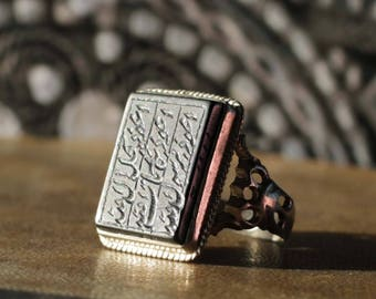 Men's Silver Ring with Shahada Engraved Hematite - size 11,5