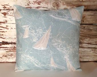 sailboat pillow cover coastal map blue & tan