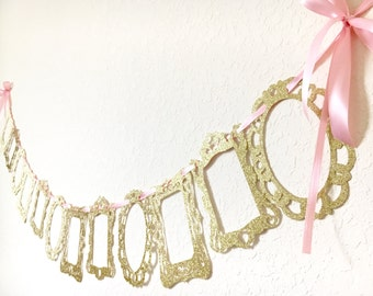 Pink and Gold 12 month photo banner. First year banner.