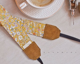 Handmade Camera Strap *yellow floral pattern*
