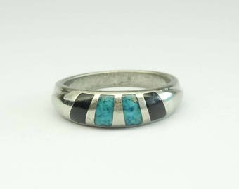 Vintage Silver Plated Turquoise and Black Onyx Statement Ring Size 6