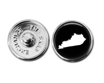 Kentucky charm, Kentucky jewelry, Kentucky map charm, snap button jewelry, button snap jewelry, button jewelry, snap charm jewelry
