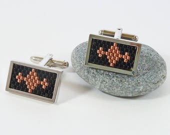 Black and Copper Cufflinks, Gift for Dad, Wedding Cufflinks, Diamond Pattern, Classic, Chrome, Chunky, Mens Accessories, Rectangle Cufflinks