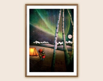 "Art Print - Children's Illustration: ""Northern Lights"""