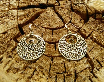 Flower Round Brass Earrings