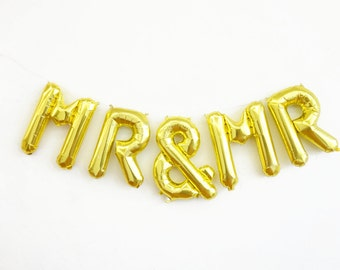 MR & MR balloons - gold mylar foil letter balloon banner kit