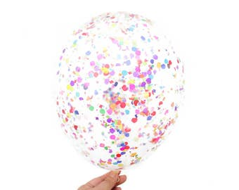 Rainbow Confetti Balloons - 6 pack of 11 inch Pre-filled Balloons