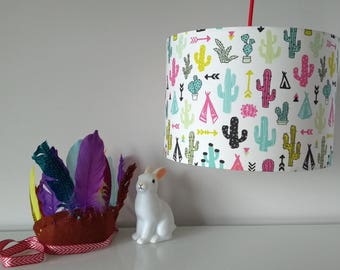 NEW! Drum Lampshade Hand Rolled in Gorgeous Little Colourful Cactus Cotton Fabric. Ceiling Shade or Table Lampshade.