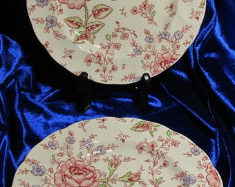 "c1980/90 Johnson Brothers Rose Chintz pink 2 x Salad Plates 7 6/8"" England"