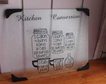 Large Glass Cutting Board, Measuring Conversion Cutting Board, kitchen conversion chart, Mason Jar Conversion Measurements, Housewarming