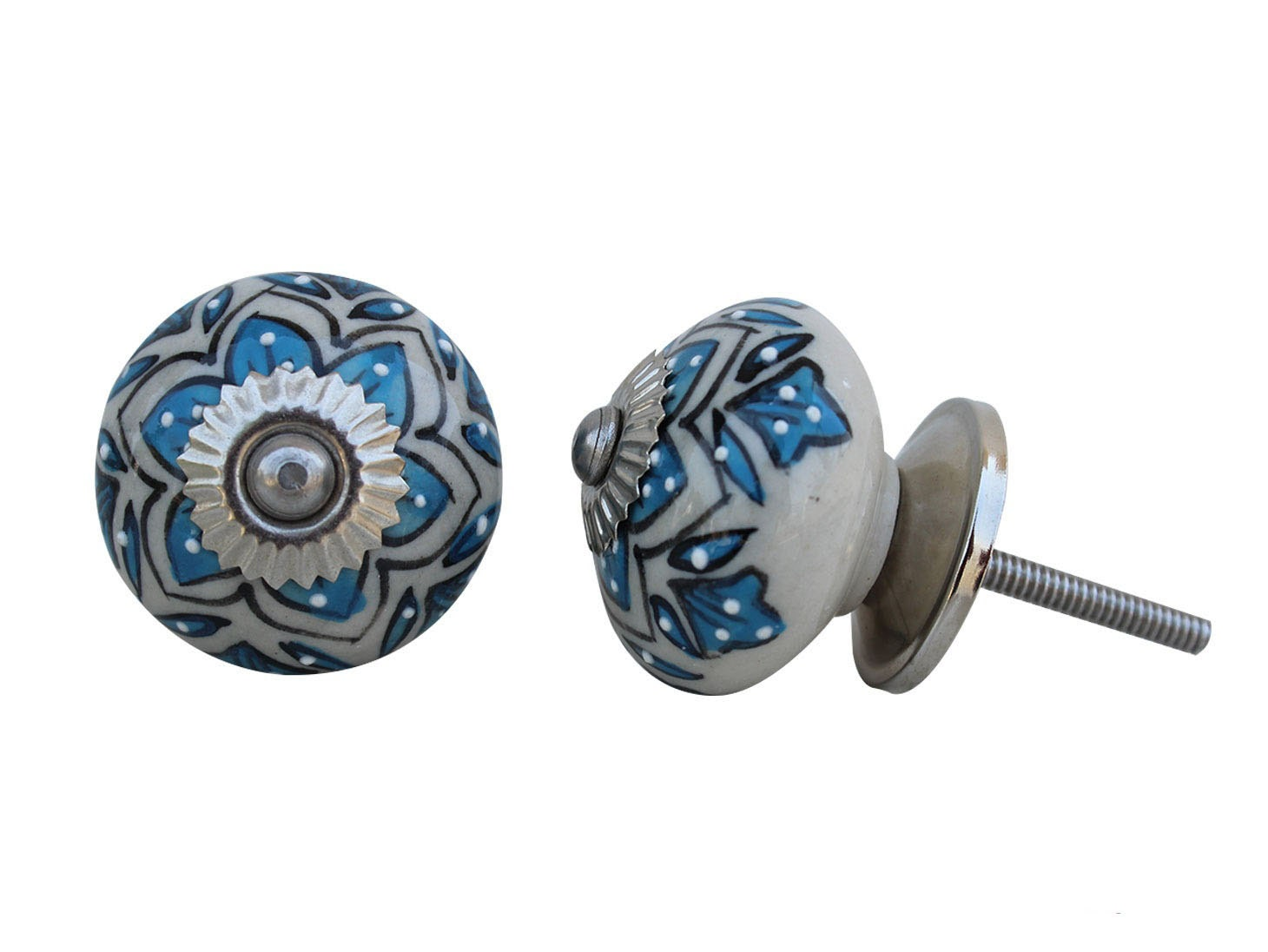 Blue Green Ceramic Cabinet Knobs Furniture Door By