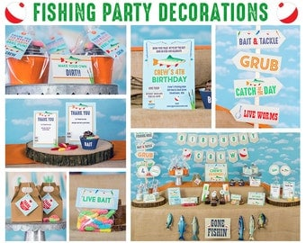 Fishing Party Decorations - Instant Download Gone Fishing Party Decorations by Printable Studio