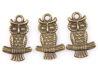 21 pcs Bronze Owl on Branch Charms