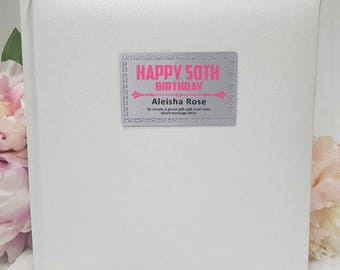 Personalised Silver/White Birthday Album - 200 Photo - Free Shipping