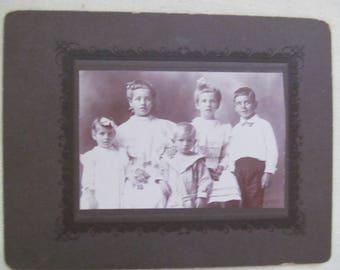 Vintage Studio Photo of Five Children - names on back