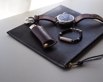 Leather Lighter Case:  The Midhurst leather Lighter Case - L016 L/L016 S - genuine leather, cow leather, brown, hand-stamped, male, Japan