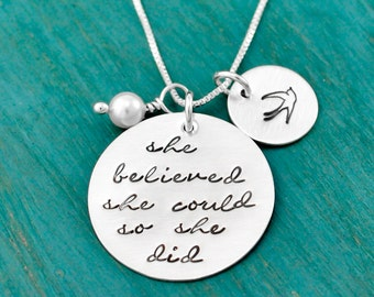 Sterling silver she believed she could so she did, hand stamped necklace, inspirational necklace