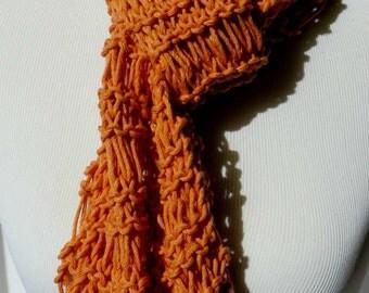 Tangerine Scarf - Summer Knit Scarf - Tangerine Orange Knit Scarf - Drop Stitch Scarf - Lightweight Scarf - Cotton Blend Scarf - Vegan Scarf