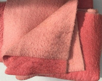 Vintage Dutch wool blanket — two shades of rose- made by Zaalberg.