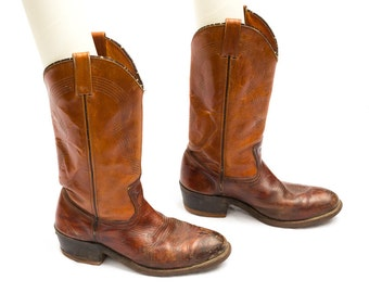 vintage cowboy boots western wear - worn distressed brown boots - Double H by Richland Made in U.S.A.
