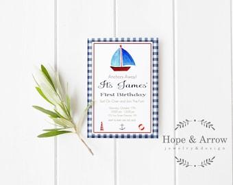 Anchors Away Invitation, Sailboat Birthday Invitation, Watercolor Sailboat  Birthday Invitation, Digital Invitation, Sailboat Invitation