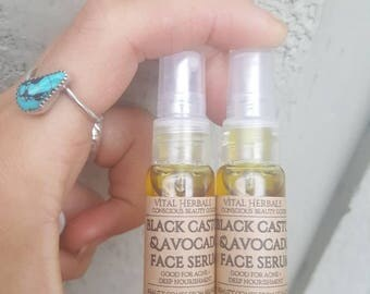 Avocado + black castor face serum, acne serum, organic face oil, beauty oil, sensitive skin oil