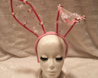 Pink Lace Bunny Ears with Crystals and Pink and White Flowers. Burlesque Cabaret Vintage Costume Accessory