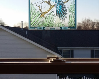 """Bluejay """"Stained Glass"""" Style WINDOW CLING"""