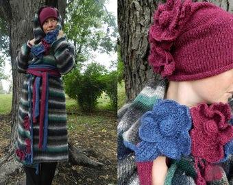 Cardigan coat wrap wool coat stripe grey purple coat flower crochet hat  knit women coat  boho cardigan spring coat women long knit coat