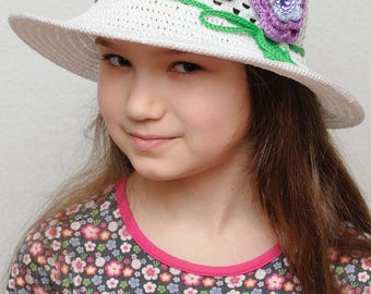 Floral Crochet summer hat Girls sun hat with flowers Girls summer hat wide brim hat Crochet girls hats Beach hat Baby floppy hat Lavender