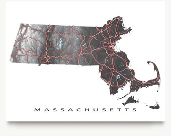 Massachusetts State Map Art Print, MA State Maps, Black and White