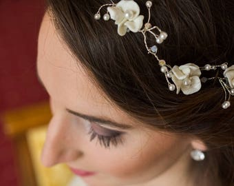 Headband married flowers and beads vintage spirit