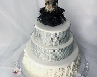 Halloween Wedding Cake Topper, Skeleton Wedding Topper, Halloween Topper, Cake Decor