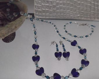 Blue Heart Crystal Bead Necklace, Bracelet and Earring Set