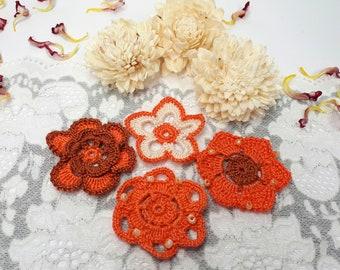 4 orange lace flowers, crochet flowers, orange crochet appliques, scrapbook flowers, orange patch flowers, embroidered lace embellishments