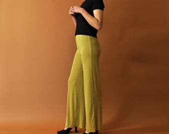 Minimal Summer Pants, Green Slinky Pants, High Waist Trousers, Casual Green Pants, Loose Summer Pants, Slinky Wide Leg Pants, Womens S - M