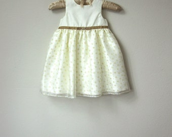 Adorable Baby Girl's Dress, Cream Satin with Mocha Tan Velvet Ribbon Sash and Bow and Sparkly Princess Skirt with Flowers, Baby Party Dress