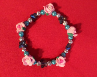 SPRING FLORAL Butterfly Fantasy Bracelet with Extra Stretch OOAK **Listing Ends July 3rd, 2017**