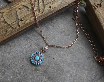 Silver Necklace,Turquoise Pendant,Silver Pendant,Girls Jewelry,Birthday Gift,Charm Necklace