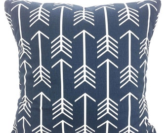 Navy Blue Decorative Pillow Covers, Throw Pillows, Cushions, Throw Pillow, Couch Pillows, Navy White Pillow, Arrow One or More All Sizes
