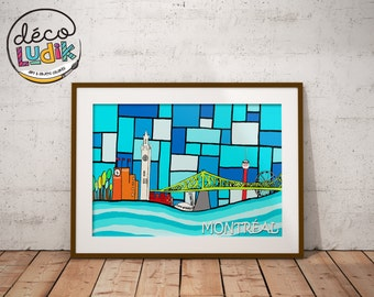 Montreal print, wall art, Print of the city of Montreal, art prints, 8,5X11