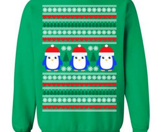 Cute Penguin Sweater Funny Ugly Christmas Sweater Ugly Christmas Sweater Party Sweater Gift for Christmas Sweater Tacky Christmas #OS185