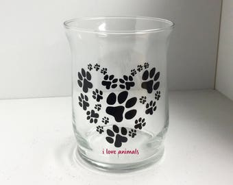 """Paw Print Glass Candle Holder - """"I Love Animals"""" Glass Candle Holder - Paw Prints in Shape of Heart"""